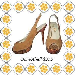 Bombshell by Bettye Muller camel suede peep toe platform