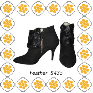 Fury by Bettye Muller feather cuff black suede bootie