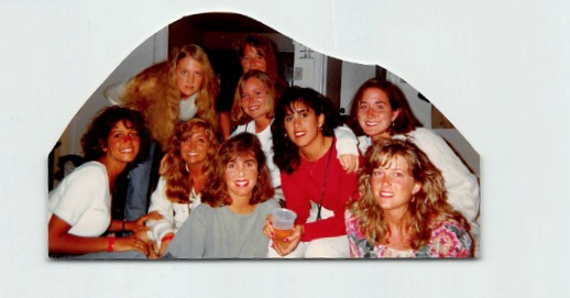 Can you spot Alex and me in this college photo of our group of friends?