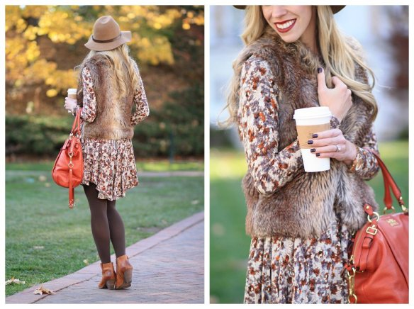 HM-floral-print-dress-brown-faux-fur-short-vest-Coach-persimmon-orange-handbag-tights-and-ankle-boots-camel-wool-panama-hat-Frye-Reina-camel-leather-western-ankle-boot
