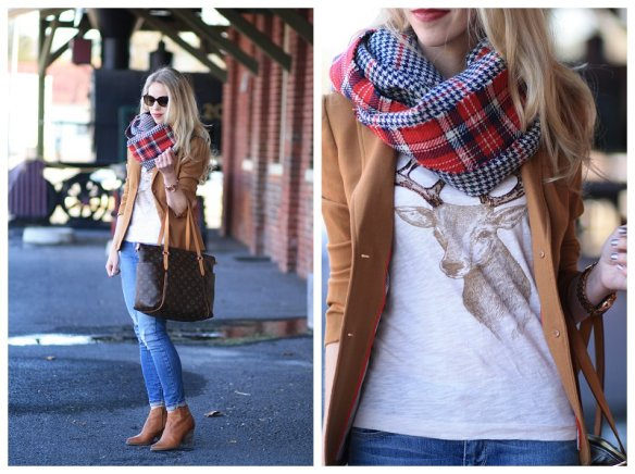 J.-Crew-holiday-deer-t-shirt-oversized-red-plaid-reversible-scarf-J.-Crew-camel-schoolboy-blazer-Louis-Vuitton-totally-MM-tote-distressed-denim-Frye-Reina-camel-leather-ankle-booties-holiday-outfit-holiday-style