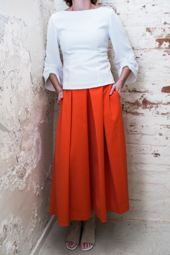 Drape Twill Corset Top, $375 & Agathe Full Skirt, $595